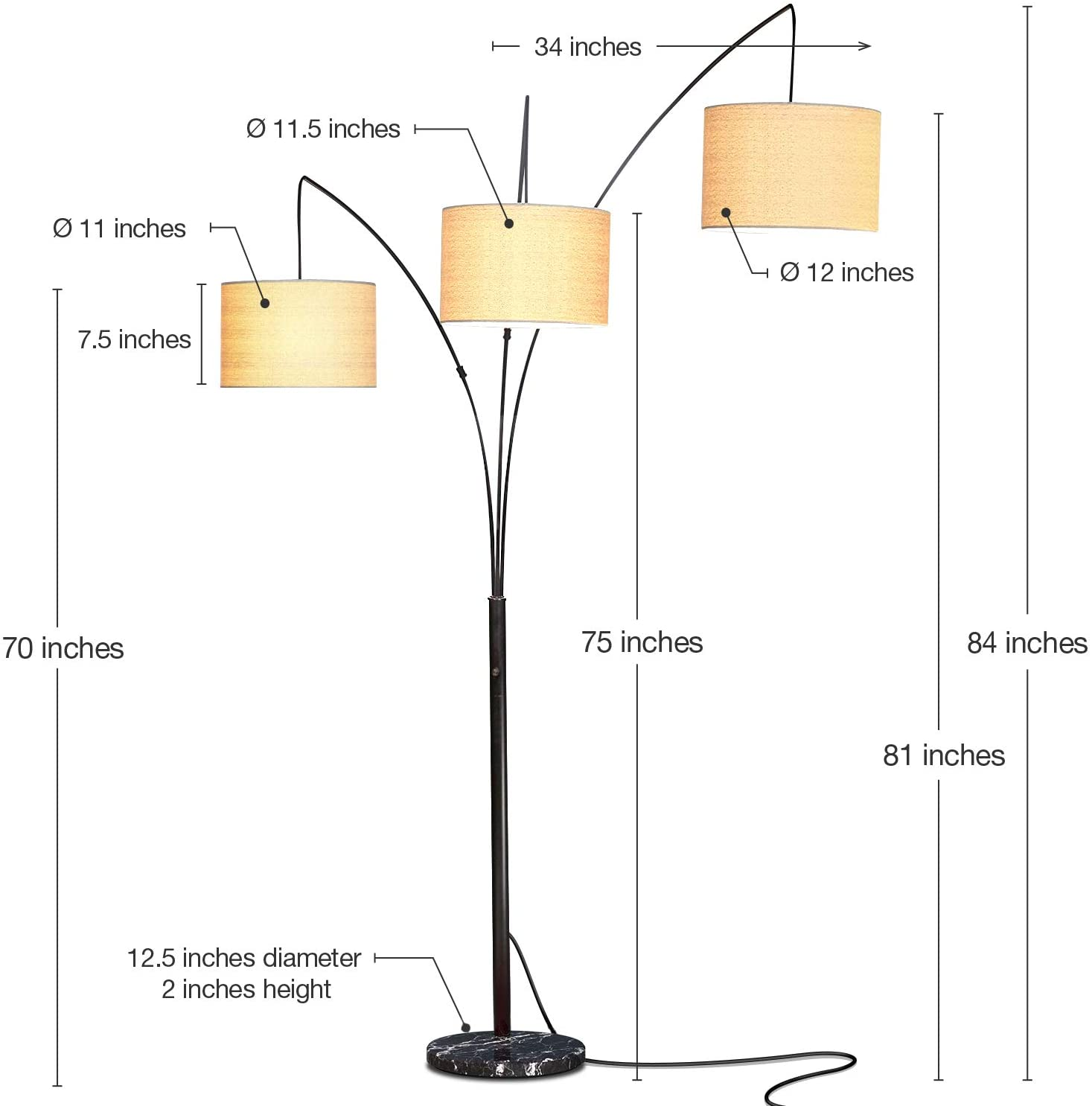 Brightech Trilage Arc Floor Lamp w Marble Base 7 Lamps Buy - Best Online Lighting Stores